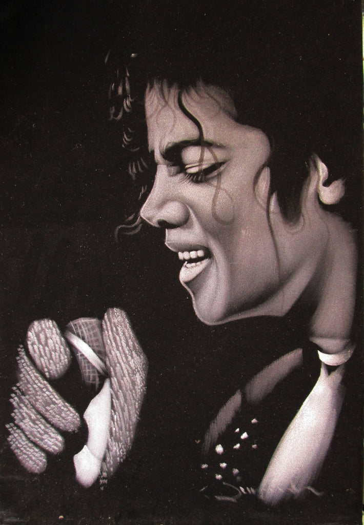 Michael Jackson portrait; ; Original Oil painting on Black Velvet by Zenon Matias Jimenez- #JM13