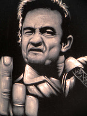Johnny Cash portrait; Middle Finger ; Original Oil painting on Black Velvet by Zenon Matias Jimenez- #JM140