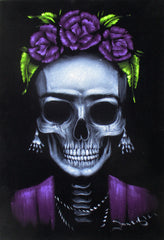 Frida Kahlo de Rivera portrait; Calavera de Frida Kahlo ; Original Oil painting on Black Velvet by Zenon Matias Jimenez- #JM141