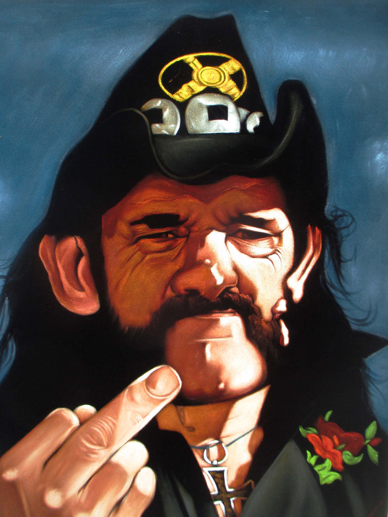 Lemmy portrait; Ian Fraser Kilmister of Motörhead; Original Oil painting on Black Velvet by Zenon Matias Jimenez- #JM143