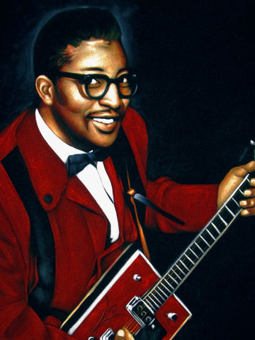 Bo Diddley portrait; Original Oil painting on Black Velvet by Zenon Matias Jimenez- #JM145