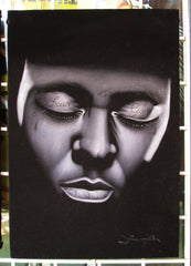 Lil Wayne Fear God portrait; Dwayne Michael Carter, Jr; Original Oil painting on Black Velvet by Zenon Matias Jimenez- #JM14