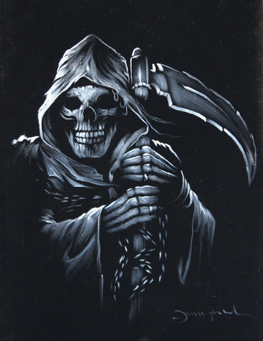 Grim Reaper portrait; Angel of Death ; Original Oil painting on Black Velvet by Zenon Matias Jimenez- #JM15