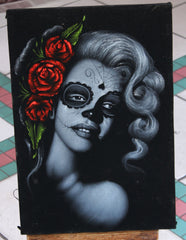 Marilyn Monroe; Calavera day of the dead portrait; Original Oil painting on Black Velvet by Zenon Matias Jimenez- #JM16