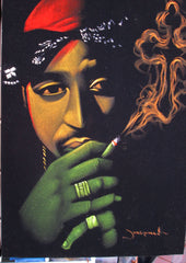 Tupac Shakur portrait; 2Pac  ; Smoke cross;  Original Oil painting on Black Velvet by Zenon Matias Jimenez- #JM18