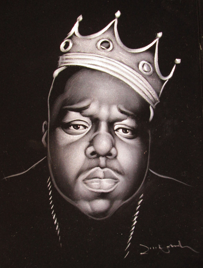 Biggie Smalls portrait; The Notorious B.I.G.; Crown hat;  Original Oil painting on Black Velvet by Zenon Matias Jimenez- #JM4619