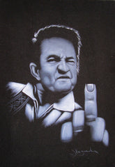 Johnny Cash portrait; Middle Finger ; Original Oil painting on Black Velvet by Zenon Matias Jimenez- #JM22