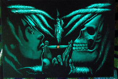 "Bob Marley & Skull portrait; Robert Nesta ""Bob"" Marley; Teal color, Original Oil painting on Black Velvet by Zenon Matias Jimenez- #JM34"