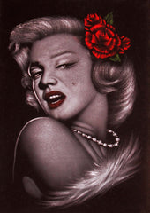 Marilyn Monroe portrait; Red Rose; Original Oil painting on Black Velvet by Zenon Matias Jimenez- #JM36