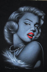 Marilyn Monroe portrait; Original Oil painting on Black Velvet by Zenon Matias Jimenez- #JM37