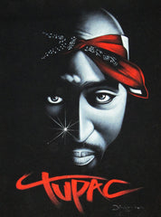 Tupac Shakur portrait; 2Pac  ; Original Oil painting on Black Velvet by Zenon Matias Jimenez- #JM39