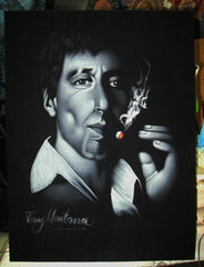 Tony Montana portrait; Al Pacino; Scarface; Original Oil painting on Black Velvet by Zenon Matias Jimenez- #JM41