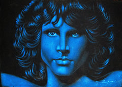 Jim Morrison Portrait in Blue ; Original Oil painting on Black Velvet by Zenon Matias Jimenez- #JM42