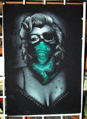 Marilyn Monroe; Calavera day of the dead portrait; Teal Scarf bandanna; Eye patch; Original Oil painting on Black Velvet by Zenon Matias Jimenez- #JM44