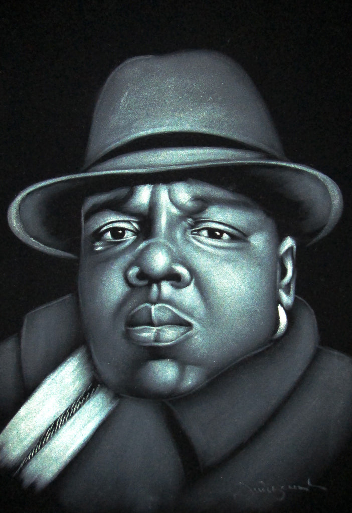 Biggie Smalls portrait; The Notorious B.I.G.; Fedora hat;  Original Oil painting on Black Velvet by Zenon Matias Jimenez- #JM46