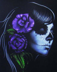 Skull Girl portrait;  Purple rose; Day of the Dead ; Calavera; Original Oil painting on Black Velvet by Zenon Matias Jimenez- #JM51