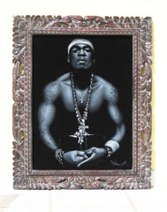 50 Cent portrait;  Curtis James Jackson III; rapper; Original Oil painting on Black Velvet by Zenon Matias Jimenez- #JM58