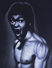 Bruce Lee portrait; the Dragon  ; Original Oil painting on Black Velvet by Zenon Matias Jimenez- #JM66