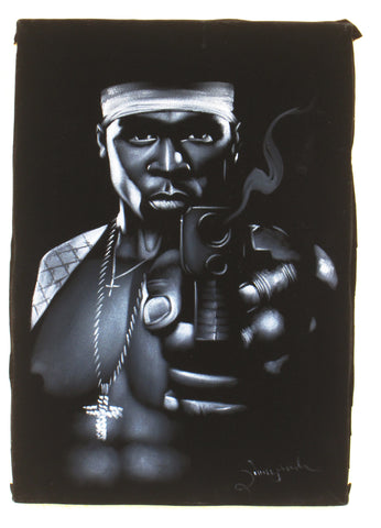 50 Cent portrait;  Curtis James Jackson III; rapper; Original Oil painting on Black Velvet by Zenon Matias Jimenez- #JM68