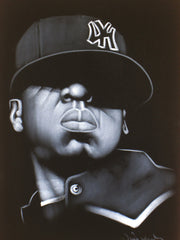 Jay Z portrait;  Shawn Corey Carter; rapper, entrepreneur and investor; Original Oil painting on Black Velvet by Zenon Matias Jimenez- #JM69