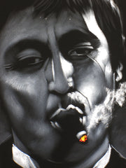 Tony Montana portrait; Al Pacino; Scarface; Original Oil painting on Black Velvet by Zenon Matias Jimenez- #JM70