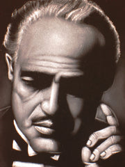 The Godfather; Marlon Brando portrait;  Original Oil painting on Black Velvet by Zenon Matias Jimenez- #JM71