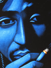 Tupac Shakur portrait; 2Pac  ; Smoke cross;  Original Oil painting on Black Velvet by Zenon Matias Jimenez- #JM72