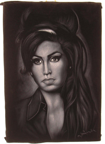 Amy Winehouse portrait; Amy Jade Winehouse; Original Oil painting on Black Velvet by Zenon Matias Jimenez- #JM75