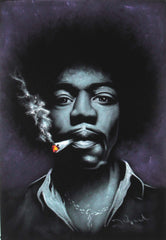"Jimi Hendrix portrait; James Marshall ""Jimi"" Hendrix;  Original Oil painting on Black Velvet by Zenon Matias Jimenez- #JM76"