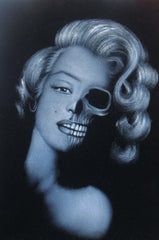 Marilyn Monroe; Calavera day of the dead portrait; Original Oil painting on Black Velvet by Zenon Matias Jimenez- #JM77