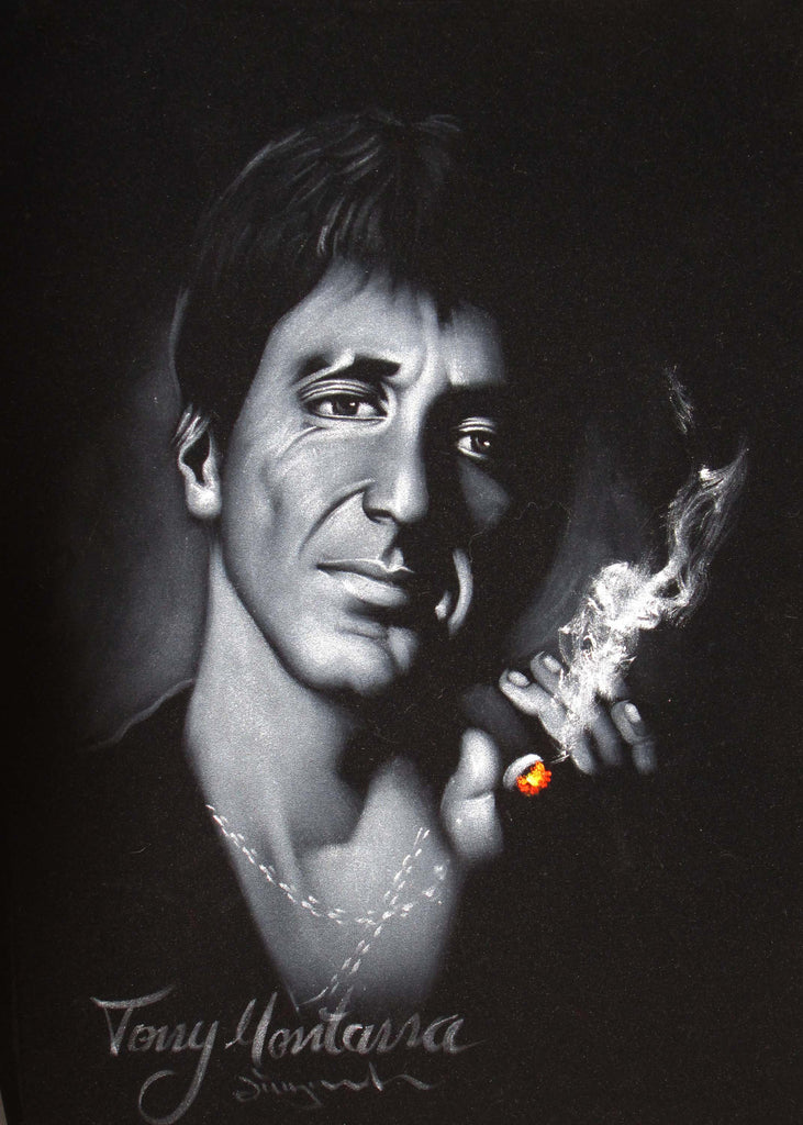 Tony montana portrait al pacino scarface original oil for Occhiali al pacino scarface