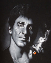 Tony Montana portrait; Al Pacino; Scarface; Original Oil painting on Black Velvet by Zenon Matias Jimenez- #JM79