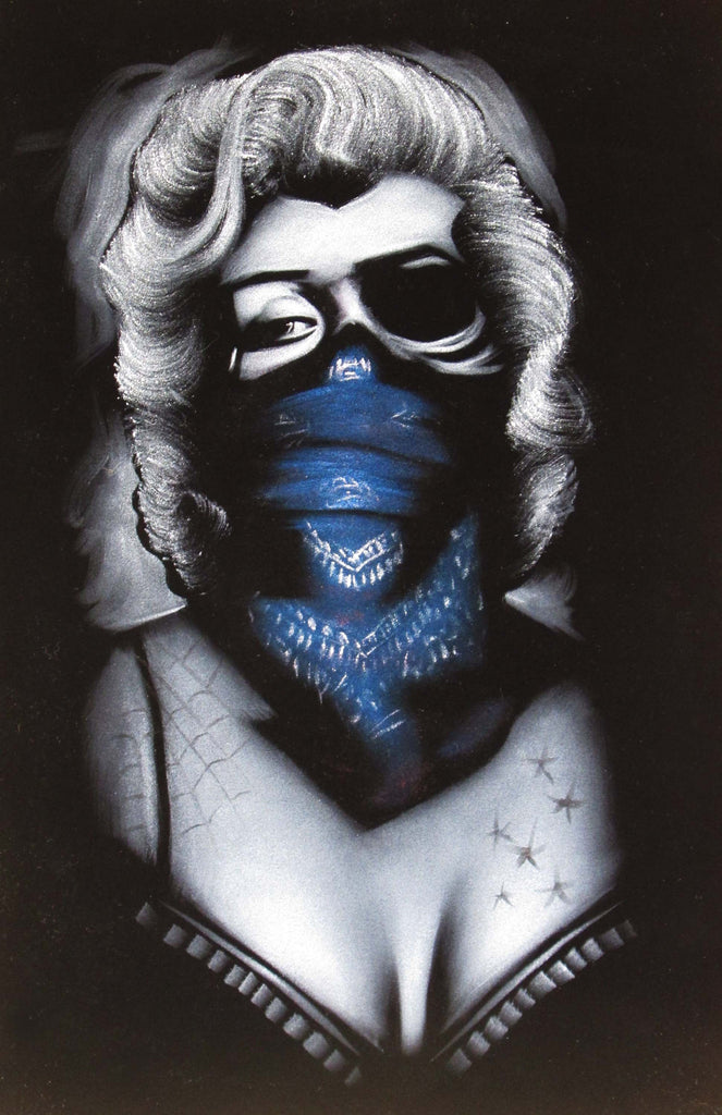 Marilyn Monroe; Calavera day of the dead portrait; Blue Scarf bandana; Eye patch; Original Oil painting on Black Velvet by Zenon Matias Jimenez- #JM83