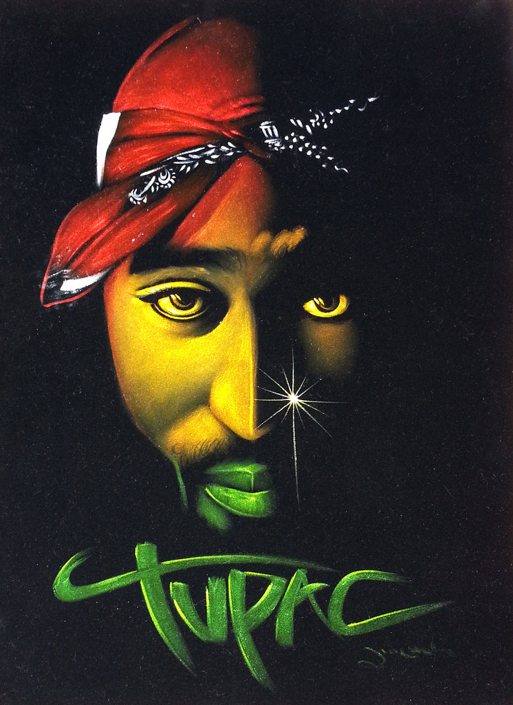 Tupac Shakur portrait; 2Pac  ; Rastafarian colors; Original Oil painting on Black Velvet by Zenon Matias Jimenez- #JM84