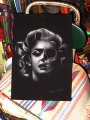 Marilyn Monroe; Calavera day of the dead portrait; Original Oil painting on Black Velvet by Zenon Matias Jimenez- #JM86