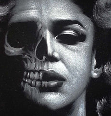 Marilyn Monroe; Calavera day of the dead portrait; Original Oil painting on Black Velvet by Zenon Matias Jimenez- #JM87