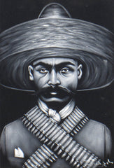 Zapata portrait; Emiliano Zapata; Original Oil painting on Black Velvet by Zenon Matias Jimenez- #JM94