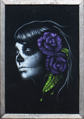 Skull Girl portrait;  Purple rose; Day of the Dead ; Calavera; Original Oil painting on Black Velvet by Zenon Matias Jimenez- #JM95