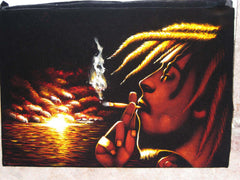 Bob Marley with sunset ; Smokes; Jamaican reggae singer ; Original Oil painting on Black Velvet by Zenon Matias Jimenez- #JM09