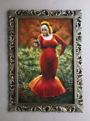"Divine In Pink Flamingos portrait red dress John Waters Oil Painting Canvas size 36""x24"" by Palomares PM57"