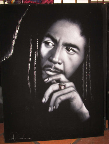 Bob Marley Portrait, Legend Album,  Oil Painting Portrait on Black Velvet; Original Oil painting on Black Velvet by Arturo Ramirez - #R13