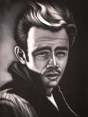 James Dean Oil Painting Portrait on Black Velvet; Original Oil painting on Black Velvet by Arturo Ramirez - #R15