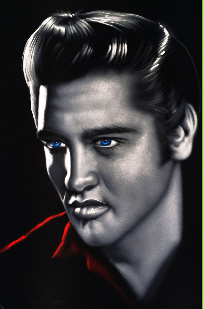 Elvis Presley Oil Painting Portrait on Black Velvet; Original Oil painting on Black Velvet by Arturo Ramirez - #R17