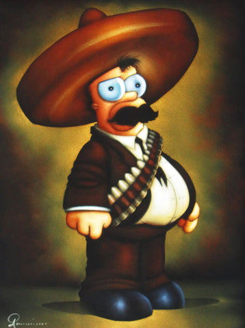 Homer Simpson as Emiliano Zapata portrait,  Oil Painting Portrait on Black Velvet; Original Oil painting on Black Velvet by Arturo Ramirez - #R1