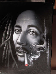 Bob Marley Portrait,  Oil Painting Portrait on Black Velvet; Original Oil painting on Black Velvet by Arturo Ramirez - #R20