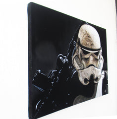 "Stormtrooper Portrait, storm trooper, Star Wars,  Original Oil Painting on Black Velvet by Arturo Ramirez ""ARGO"" - #R21"
