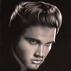 Elvis Presley Oil Painting Portrait on Black Velvet; Original Oil painting on Black Velvet by Arturo Ramirez - #R24