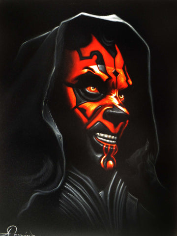 Darth Maul Portrait,  Star Wars, The Phantom Menace, Original Oil Painting on Black Velvet by Arturo Ramirez  - #R28
