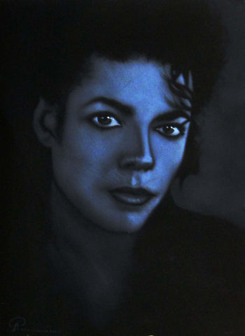 "Michael Jackson Portrait,  Original Oil Painting on Black Velvet by Arturo Ramirez ""ARGO"" - #R29"