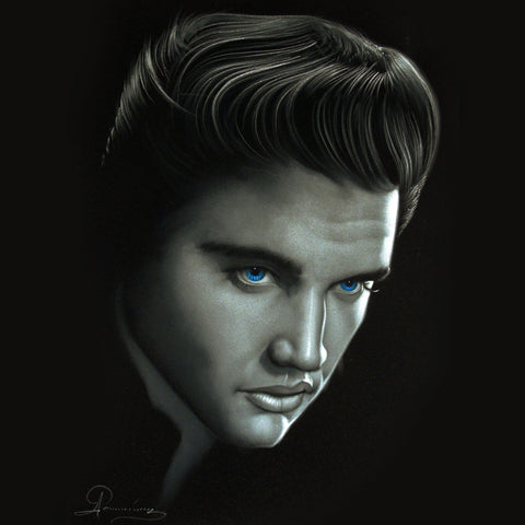 Elvis Presley Oil Painting Portrait on Black Velvet; Original Oil painting on Black Velvet by Arturo Ramirez - #R31